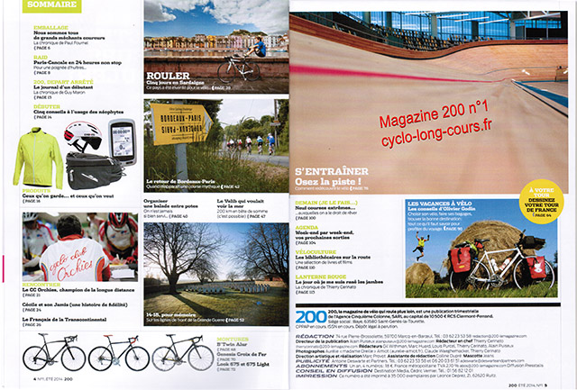 Magazine 200 : sommaire du n°1 ©cyclo-long-cours.fr