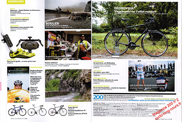 Magazine 200 : sommaire du n°2 ©cyclo-long-cours.fr