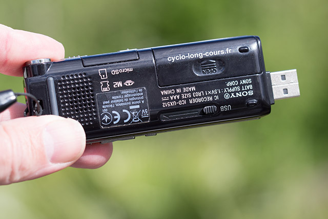 Dictaphone Sony ICD-UX512 ©cyclo-long-cours.fr