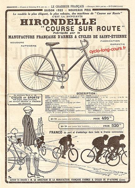 Vélo de course sur route Hirondelle - 1922 ©cyclo-long-cours.fr