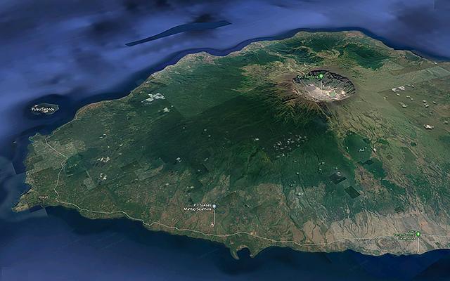 Vue satellite du Tambora en 2017