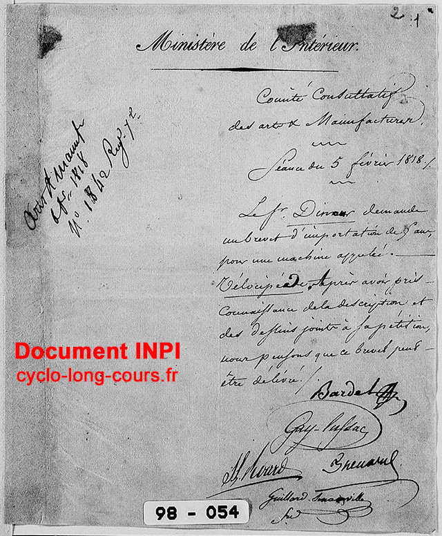 Demande de brevet d'importation du velocipede