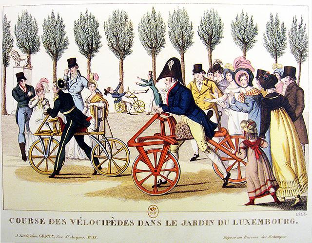 1818 : Course de vélocipèdes, jardin du Luxembourg