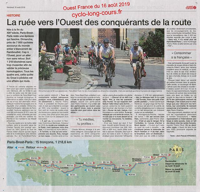 Paris-Brest-Paris - Ouest France du 16 août 2019